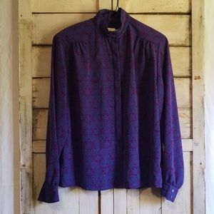 Vintage 90s Purple Blue Pendleton Blouse sz 14